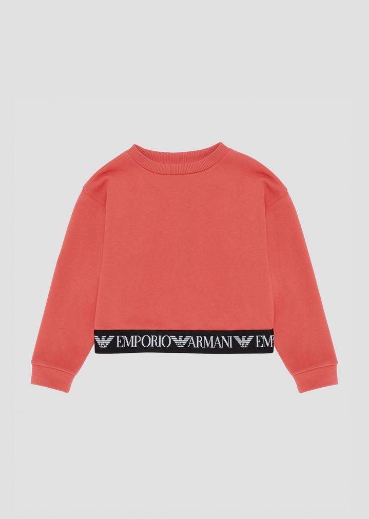 a88707aac Cotton sweatshirt with logo band on the hem   Woman   Emporio Armani