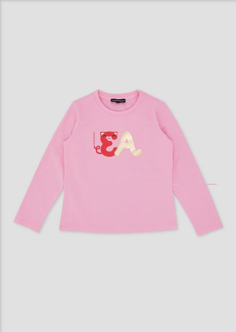 Sweatshirt in stretch cotton with colourful print