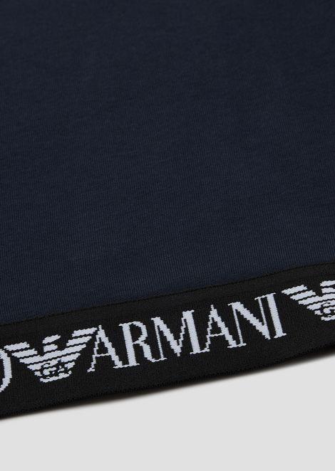 Sweat-shirt en coton avec bande ornée du logo au bas