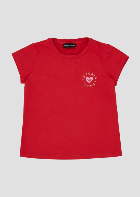 Stretch jersey T-shirt with small heart print