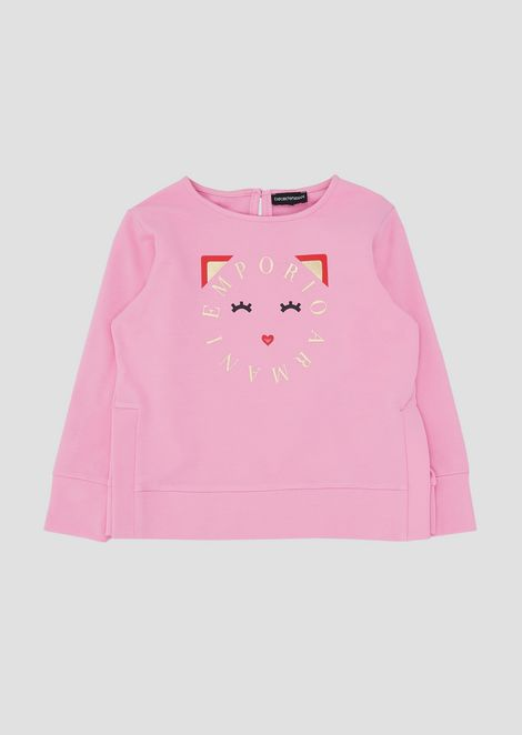 Sweatshirt in stretch cotton with colorful print