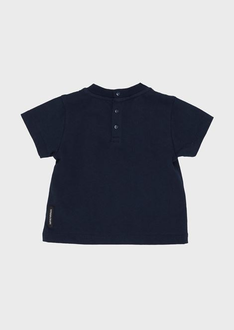 Soft cotton T-shirt with logo and buttons on the back