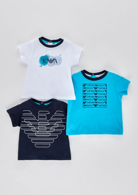 Set of three jersey T-shirts with logos
