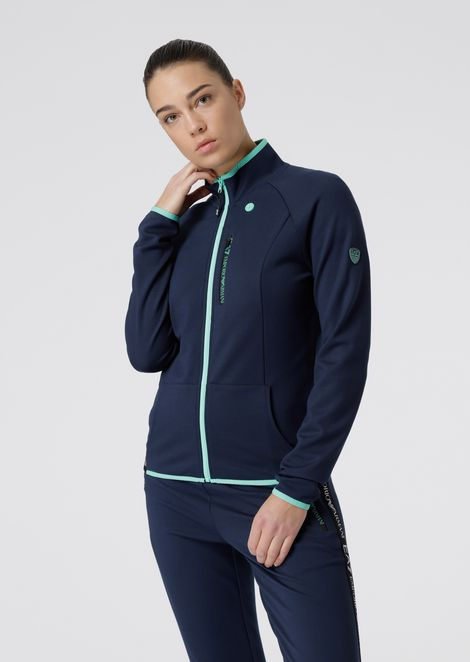 Full-zip sweatshirt with earphone hole and elasticated logo band
