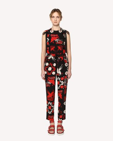 REDValentino Decorated Terrace printed silk top with lacing detail