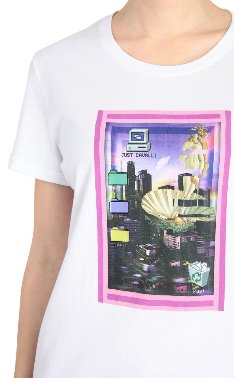 JUST CAVALLI T-shirt with desktop print Short sleeve t-shirt Woman e