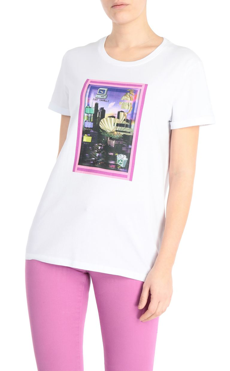 JUST CAVALLI T-shirt with desktop print Short sleeve t-shirt Woman f
