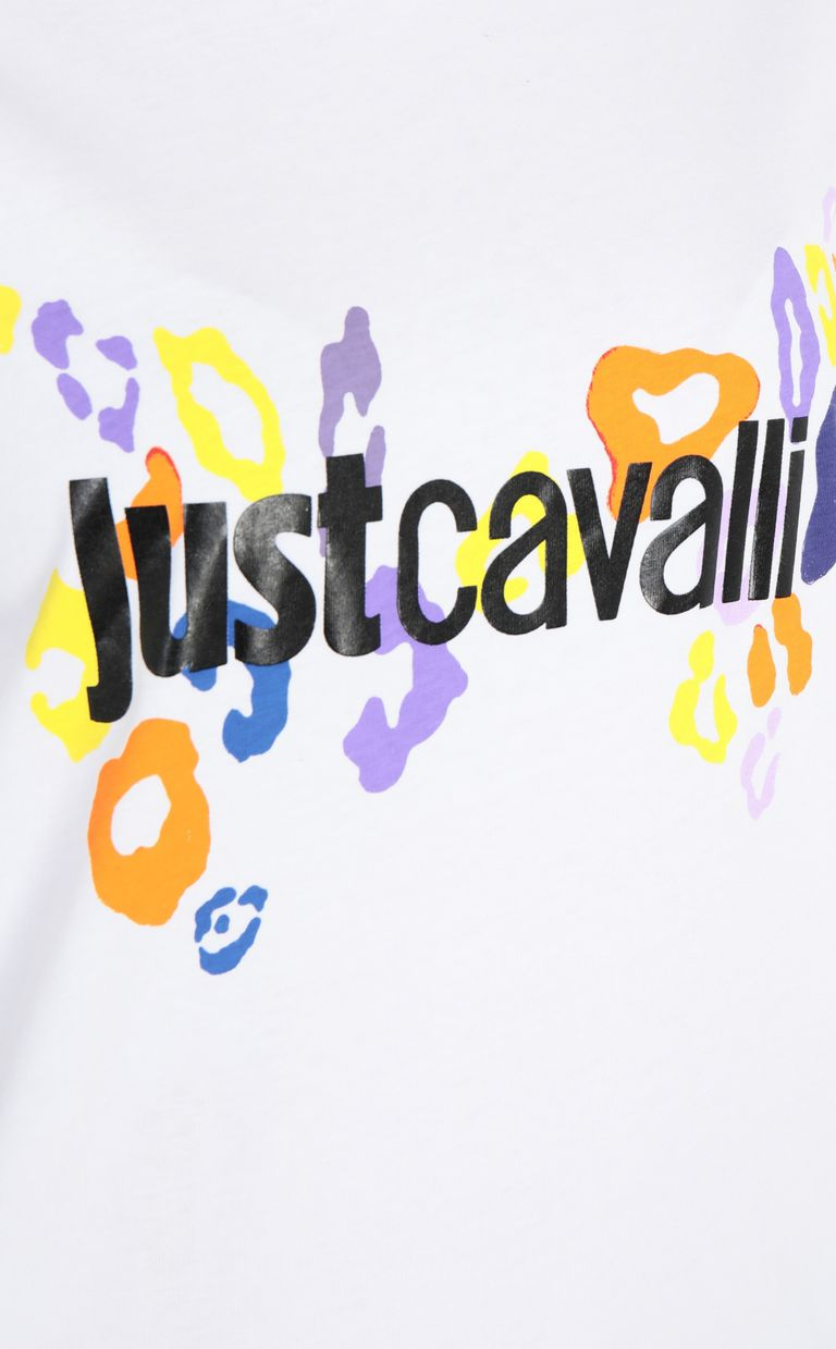 JUST CAVALLI T-shirt with leopard logo Short sleeve t-shirt Woman e