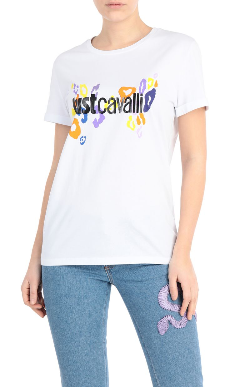 JUST CAVALLI T-shirt with leopard logo Short sleeve t-shirt Woman f
