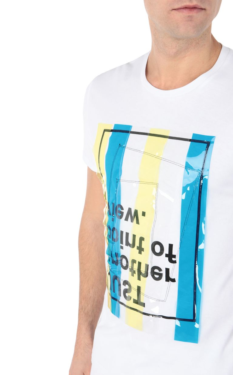 JUST CAVALLI T-shirt with PVC band details Short sleeve t-shirt Man e