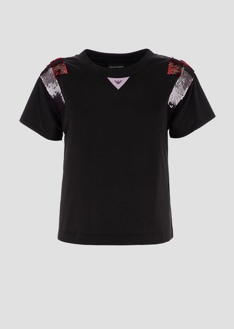T-shirt in jersey with two-color sequins on the shoulders