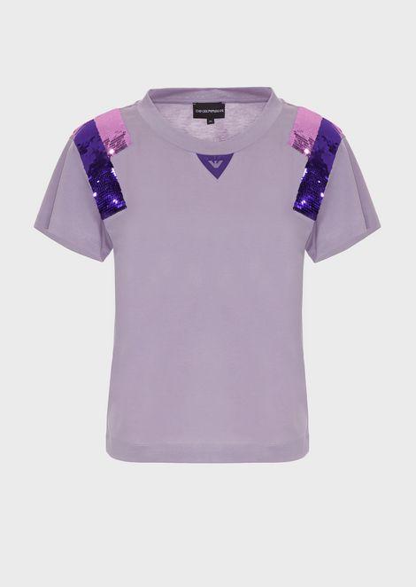 Tシャツ ジャージー製 肩にバイカラーのスパンコール