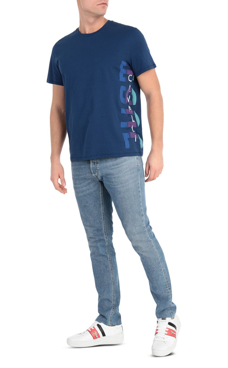 JUST CAVALLI Blue t-shirt with logo print Short sleeve t-shirt [*** pickupInStoreShippingNotGuaranteed_info ***] d