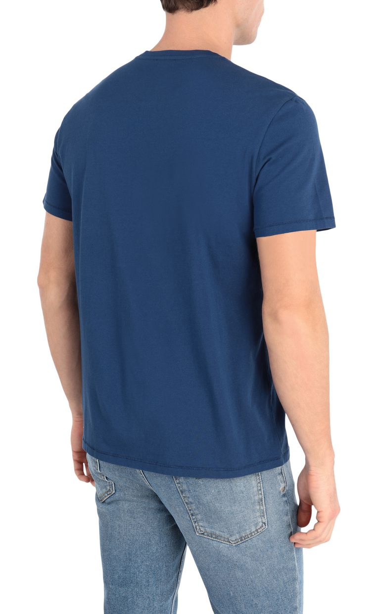 JUST CAVALLI Blue t-shirt with logo print Short sleeve t-shirt Man r