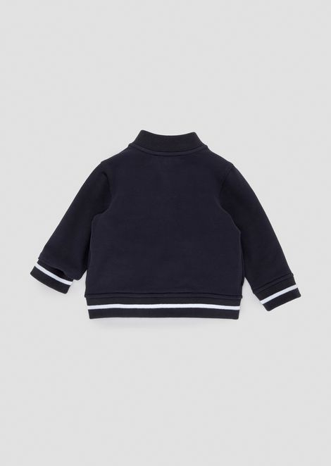 Cotton stretch sweatshirt with contrasting zipper and logo