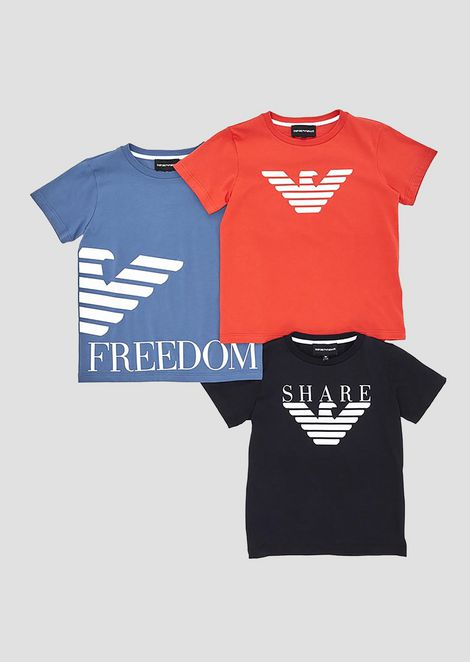 Set of three jersey T-shirts with logo print bfde12726