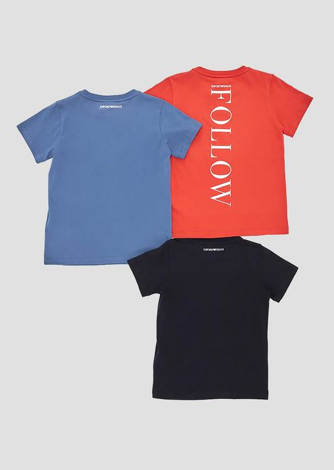 Set of three jersey T-shirts with logo print