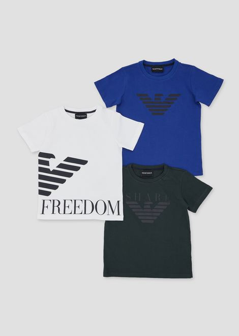 Set of three jersey T-shirts with logo print