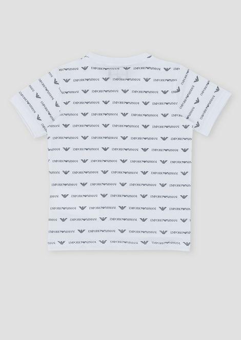 T-shirt in puro cotone con logo allover