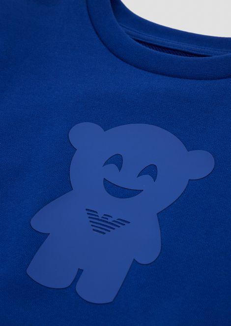 Felpa Manga Bear girocollo con stampa