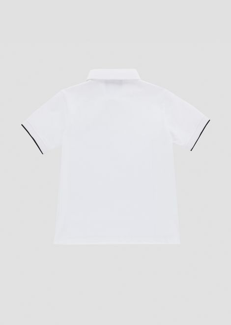 Stretch cotton piqué polo shirt with logo