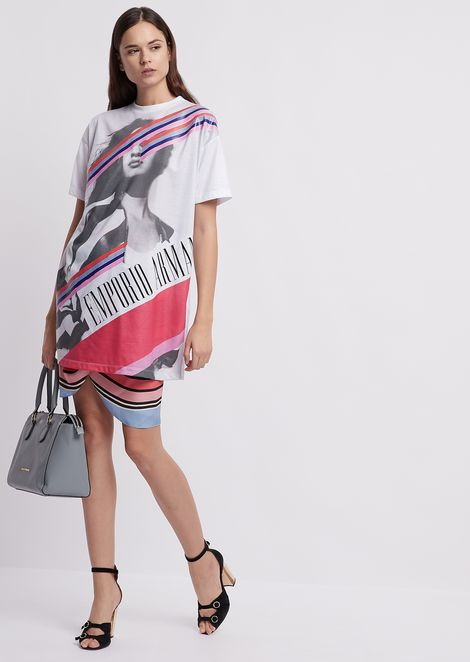 Maxi T-shirt in jersey with photographic print