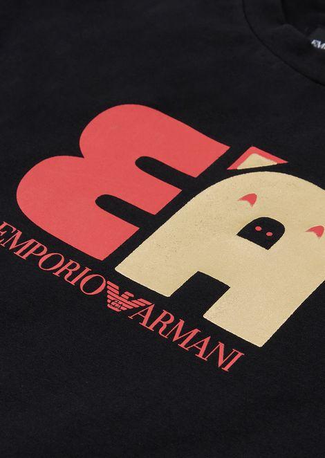 Cotton sweatshirt with EA print