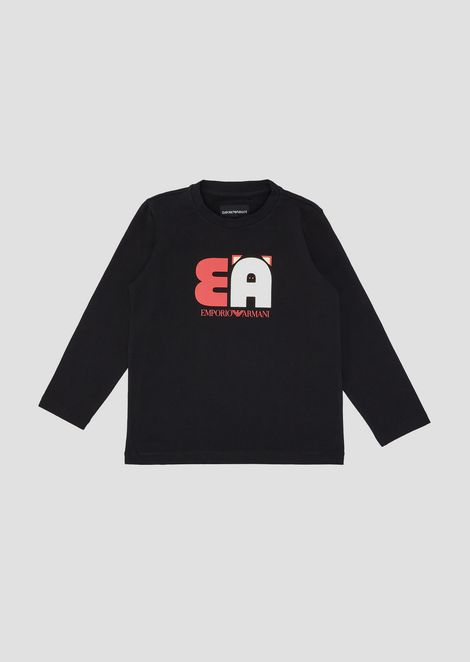 Cotton sweatshirt with EA print