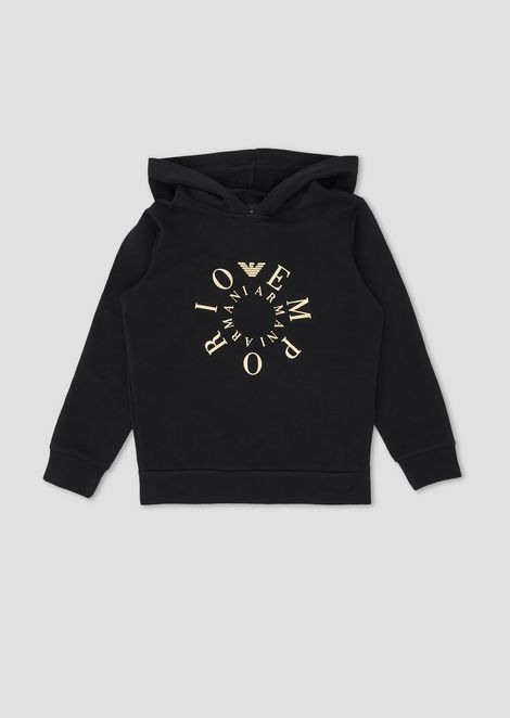 Hooded cotton sweatshirt with contrasting logo