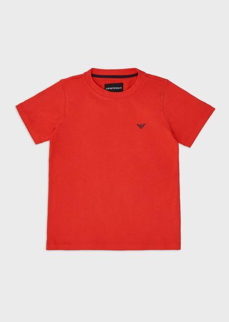 Camiseta de punto con logotipo pequeño de goma