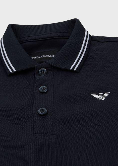 Cotton piqué polo shirt with striped profiles