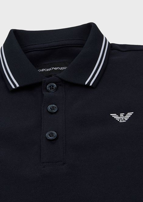 Cotton piqué polo shirt with striped profiles