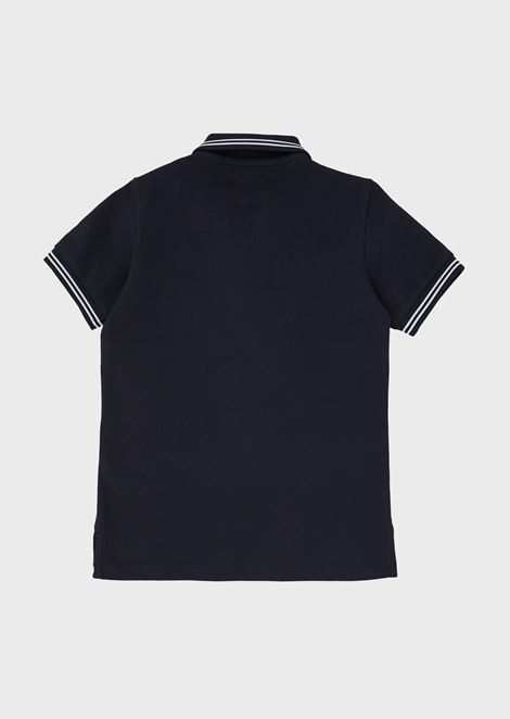 Cotton piqué polo shirt with striped edges