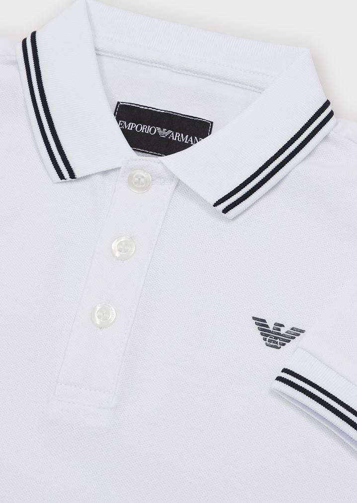 65afc325 Short-sleeved polo shirt with embroidered logo | Man | Emporio Armani