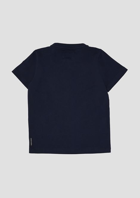 Jersey T-shirt with small rubber logo
