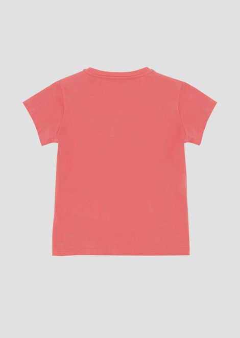 Stretch cotton T-shirt with sequined logo