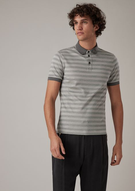 Cotton and silk jersey polo shirt with striped pattern