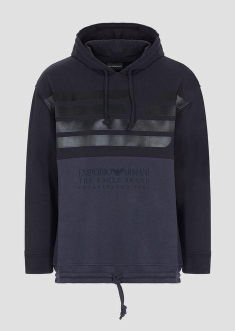 Sweatshirt in two-tone cotton fleece with logoed print
