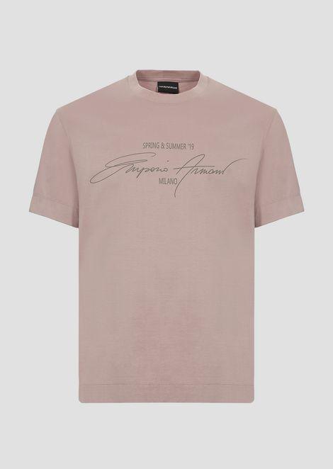 Camiseta de punto de algodón mercerizado con estampado de la colección