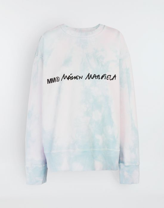 MM6 MAISON MARGIELA Logo-embellished tie-dye cape sweatshirt Sweatshirt [*** pickupInStoreShipping_info ***] f