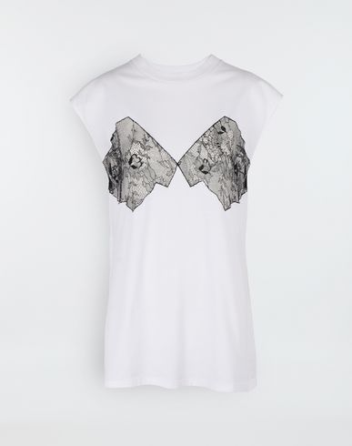 Lace-panelled jersey T-shirt