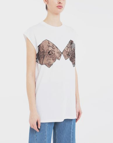 TOPS & TEES Lace-panelled jersey T-shirt