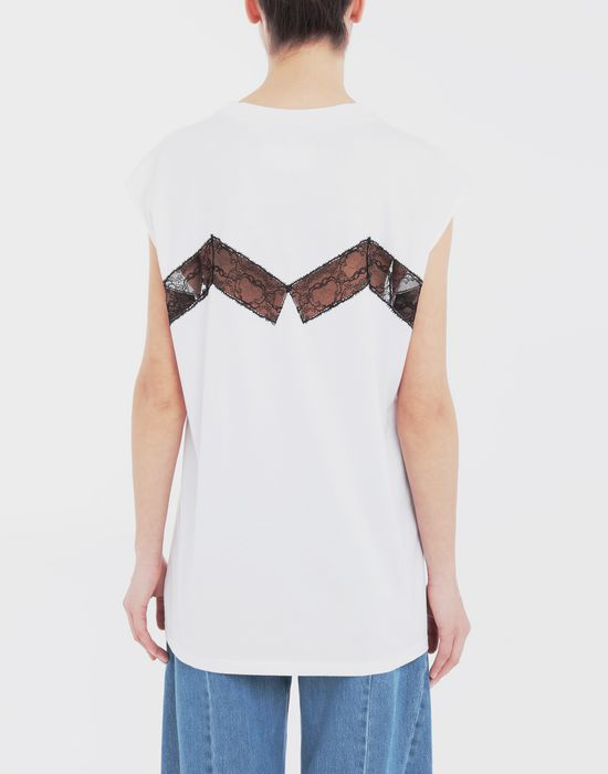 MAISON MARGIELA Lace-panelled jersey T-shirt Top [*** pickupInStoreShipping_info ***] e