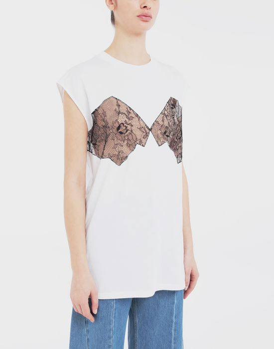 MAISON MARGIELA Lace-panelled jersey T-shirt Top [*** pickupInStoreShipping_info ***] r