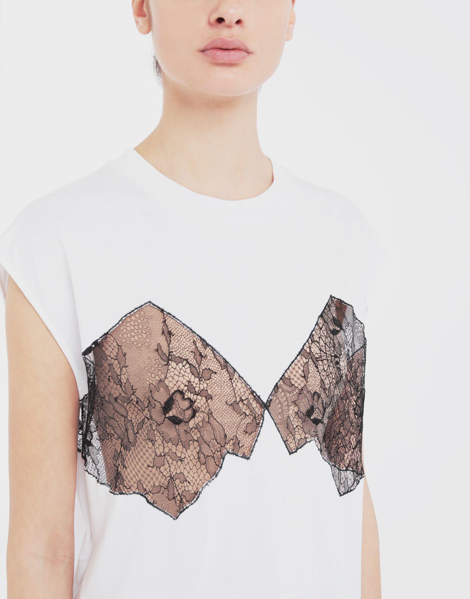 MAISON MARGIELA Lace-panelled jersey T-shirt Top Woman a