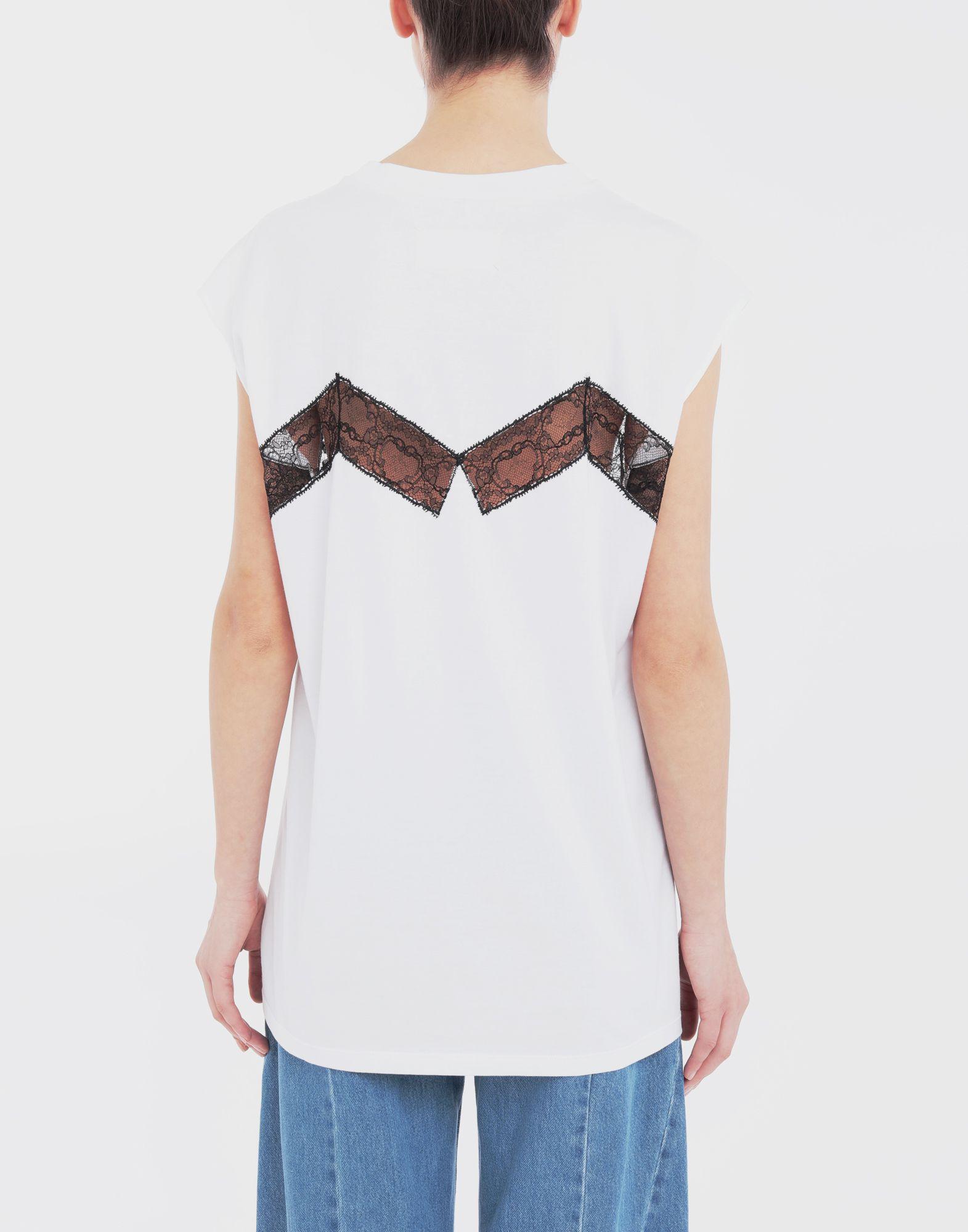 MAISON MARGIELA Lace-panelled jersey T-shirt Top Woman e