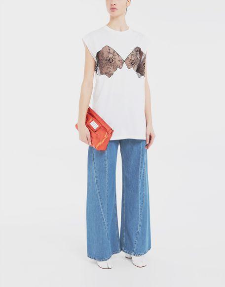 MAISON MARGIELA Lace-panelled jersey T-shirt Top Woman d