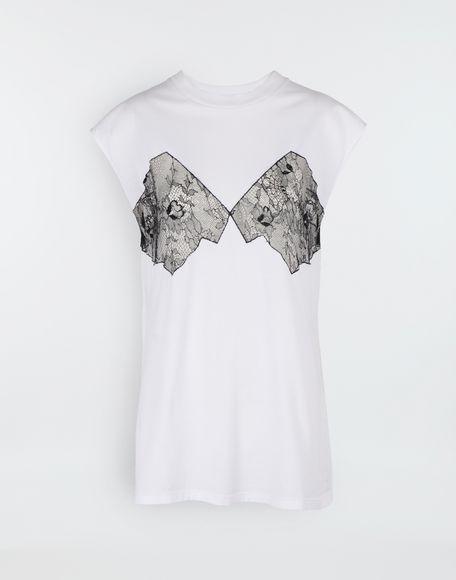 MAISON MARGIELA Lace-panelled jersey T-shirt Top Woman f