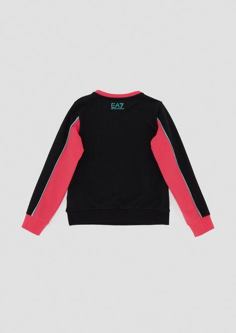 Girls' sweatshirt in stretch cotton with EA7 maxi-logo