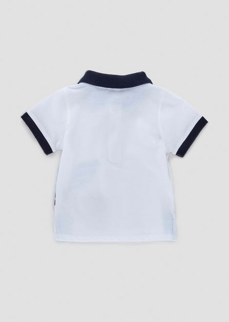 Cotton piqué polo shirt with maxi logo